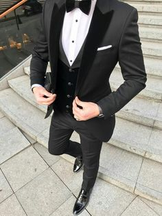 Custom Black Terno Masculino Slim Fit Men Suits Blazers Groom Wedding Tuxedos Peaked Lapel With Velvet Vest Coat Pants - Wedding suits - Dress Suits For Men, Suits For Sale, Men Dress, Suit Sale, Prom Suits For Men, Prom Styles For Men, Prom Dresses For Men, Suit For Men, Women's Dresses