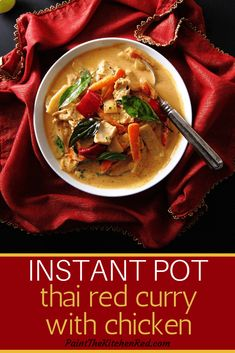 This Instant Pot Thai Red Curry with Chicken is just delightful! It makes a perfect meal when paired with Jasmine Rice, and it comes together so quickly in the Instant Pot. To make it a real one-pot meal, cook rice and Thai red curry together using the Pot in Pot method (which is detailed on the blog)!  Perfect for a busy weeknight meal. #instantpot #thaifood #thai #chickencurry