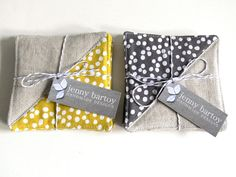 Coasters Set of 4 Linen and Stamped Dot in Mustard by JennyBartoy