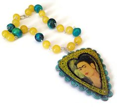 Frida Kahlo Necklace Yellow Turquoise Statement by WinkArtisans