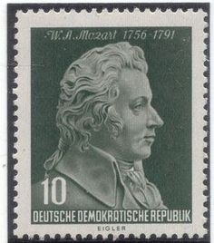Alemania (DDR) 1956 -  Wolfgang Amadeus Mozart fue un compositor y pianista austriaco, maestro del Clasicismo, considerado como uno de los músicos más influyentes y destacados de la historia.