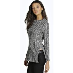 Boohoo Tall Tall Lani Knitted Long Sleeve Roll Neck Jumper featuring polyvore, fashion, clothing, tops, sweaters, grey, chunky knit sweater, grey sweater, gray turtleneck sweater, turtle neck sweater and knit turtleneck sweater