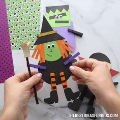 These Halloween clothespin crafts are fun and easy for kids to make! Use our free printable template to make a witch, Frankenstein or vampire! Halloween Arts And Crafts, Halloween Decorations For Kids, Halloween Crafts For Toddlers, Christmas Crafts For Kids To Make, Toddler Halloween, Spooky Halloween, Holiday Crafts, Outdoor Halloween, Vintage Halloween