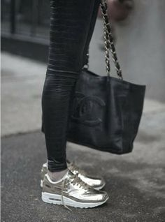 """Because nothing says, """"I'm a rich bitch"""" like wearing gold Nikes and sporting a Chanel bag."""