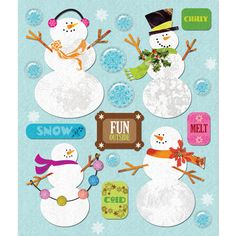 K and Company - Life's Little Occasions Collection - 3 Dimensional Stickers  with  Epoxy and Glitter Accents - Snowmen at Scrapbook.com