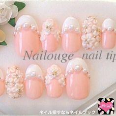 ネイル 画像 Private nail salon Nailouge 北見 1555061 ピンク 白 3D フラワー フレンチ ラメ パール デート パーティー ブライダル チップ ハンド ロング