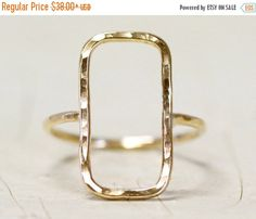 HOPPY EASTER SALE Gold Simple Rectangle Ring  One Hand Forged