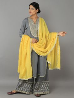 Grey Yellow Cotton Gota Suit - Set of 3