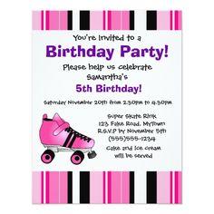 Roller Skate Birthday Invitations Hot Pink Roller Skate Birthday Party - Pink Stripe Card
