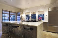 HAR - kitchens - long kitchen, long kitchen ideas, no top cabinets, no upper cabinets, steel and glass windows, windows over stove, windows ...