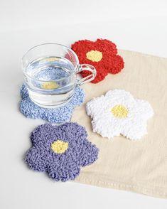 Diy Resin Crafts, Yarn Crafts, Funky Rugs, Yarn Flowers, Punch Needle Patterns, Craft Punches, Rug Hooking, Crochet Designs, Handmade Flowers