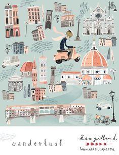 May foliofocus week city kids wanderlust Spot Illustration, Fashion Illustration Sketches, Illustrations, Buch Design, Map Design, Posca Art, Tourist Map, Wanderlust, City Maps