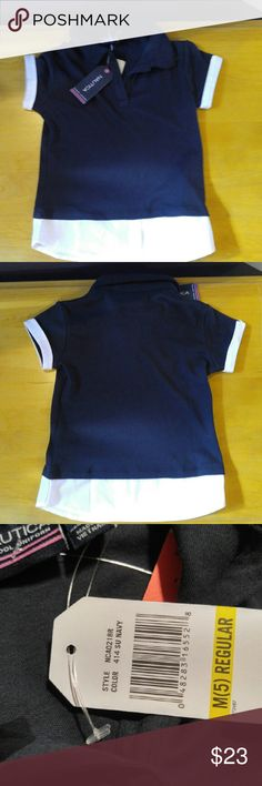 Girls Nautica school uniform 5 New With Tags New With Tags Girls Nautica School Uniform Top.  Polo type with faux white shirt underneath.  This is all one piece.  Size 5 NAUTICA Shirts & Tops Blouses