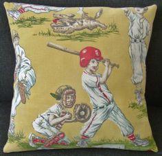 Vintage 1950's Baseball Pillow Cover Child's Room / Den Barkcloth Mid Century