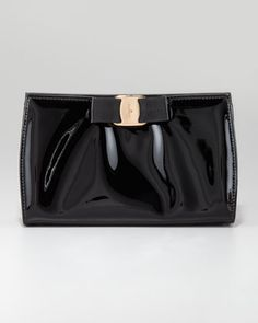 Miss Vara Patent Clutch, Black by Salvatore Ferragamo at Neiman Marcus.