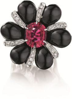PHILLIPS : NY060211, Margherita Burgener, A Rubellite, Onyx, and Diamond Ring
