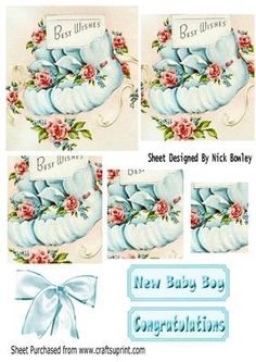 Baby boys blue bootees with roses pyramids on Craftsuprint - Add To Basket!