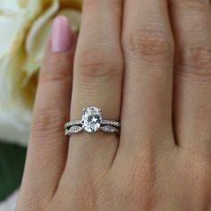 125 Ctw Oval Art Deco Swirl Ring Solitaire Bridal Set Half