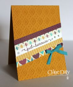 Stampin' Up! Bohemian 'just because' Diagonal Card using Boho Chic embossing folder. By Claire Daly SU Demo Australia
