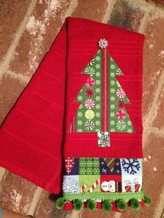 Decorative Christmas Tree Towel Red by AboundinginBlessings, $15.00