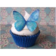 Edible Wafer Butterflies with blue glitter from incrEDIBLEtoppers Edible Butterflies - Cake Decorations & Cupcake Toppers on Etsy