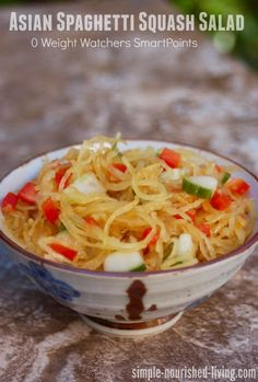 Easy Healthy Asian Spaghetti Squash salad, simple delicious vegetarian recipe for Weight Watchers, 58 calories, 0 SmartPoints