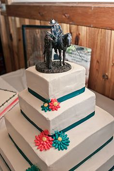 Cherished Cake Topper on a square tiered western wedding cake