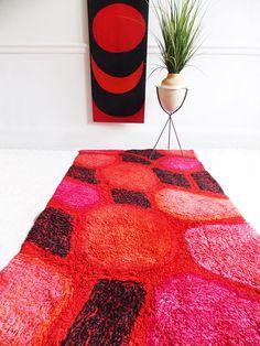 mid century modern red abstract Rya rug / 1960s modernist rug