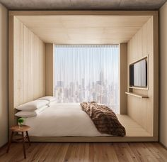 Bedroom with a view over The PUBLIC Hotel is designed by Herzog & De Meuron and is located in // Photo by Ian Schrager - Architecture and Home Decor - Bedroom - Bathroom - Kitchen And Living Room Interior Design Decorating Ideas - Design Hotel, House Design, Nyc Hotels, New York Hotels, Luxury Hotels, Decor Interior Design, Interior Design Living Room, Room Interior, New York Bedroom