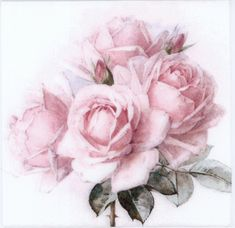 Big pink shabby chic rose on a paper napkin for decoupage. A beautiful shabby chic paper napkin with pink roses for your decoupage projects.