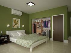 Bríndale un ambiente acogedor a tu recámara con un piso cerámico beige y paredes color verde.