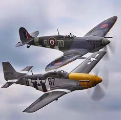 "beautifulwarbirds: """" North American Mustang and Supermarine Spitfire Ww2 Aircraft, Fighter Aircraft, Military Aircraft, Fighter Jets, Fighting Plane, Pilot, Airplane Photography, Ww2 Pictures, P51 Mustang"