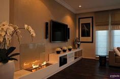 Interior  Modern Nuance with Wall Fireplace Design
