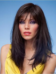 Long Black Synthetic Wigs With Bangs Monofilament Straight Style Long Hair Wigs, Remy Hair Wigs, Human Hair Wigs, Lob Hairstyle, Wig Hairstyles, Mens Medium Length Hairstyles, Texturizer On Natural Hair, Cheap Wigs, Cheap Human Hair
