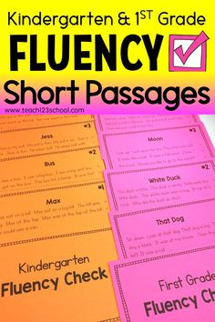 Kindergarten & First grade FLUENCY SHORT TEXT in 2 formats: Use numbered column on fluency cards to take a quick running record to track progress. Print the fluency cards on card stock and put on ring. Use as warmup, Daily 5 read to self, intervention, or Reading Fluency Activities, Fluency Practice, Kindergarten Reading, Teaching Reading, Reading Resources, School Resources, Kindergarten Classroom, Teaching Ideas, Classroom Ideas