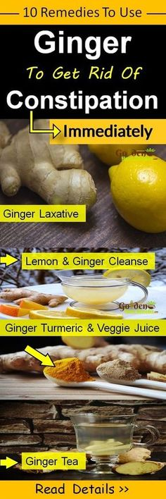 Ginger For Constipation: 10 Effective Home Remedies To Get Rid Of Constipation Immediately And Naturally. Useful Ways On How To Use Fresh Ginger For Constipation Relief. Ginger is a natural laxative which helps to promote bowel movement. It strengthens the digestive system. It stimulates the appetite. Read More…