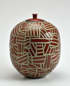 Carved Red Jar: Boyan Moskov: Ceramic Vessel - Artful Home