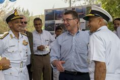 Defense Secretary Ash Carter, center right, shares a light moment with Indian naval officers as he arrives at the Karwar naval base in India to visit the Indian aircraft carrier INS Vikramaditya, April 11, 2016. Carter is visiting India to solidify the rebalance to the Asia-Pacific region. DoD photo by Air Force Senior Master Sgt. Adrian Cadiz
