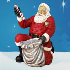Life size Kneeling Santa with Cane and Toy Sack from the Bay Designs Collection.  This magnificent dimensional sculpture is rich with detail and character.  Glitter, silver and gold leaf detailing are hallmarks of this collection.  Crafted in durable chip-resistant fiberglass, this sculpture is made to withstand the elements. $799.00