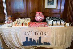 "Maryland wedding favor idea - A ""Baltimore Bar"" featuring local snacks {Artful Weddings by Sachs Photography}"