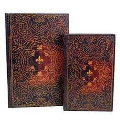 Celtic and Fleur de Lis Design Leather Book Box Stash Hollow Hidden Storage