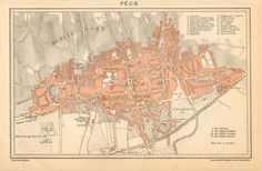 1897 City Map of Pécs Hungary by CabinetOfTreasures on Etsy