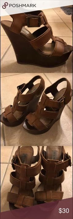 """Steve Madden Wedges Perfect for spring or summer- 4"""" wedge - Cognac color matches with anything! Size 6.5, gently worn Steve Madden Shoes Wedges"""