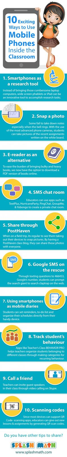 10 Exciting Ways to Use Mobile Phones In the Classroom Infographic | e-Learning Infographics