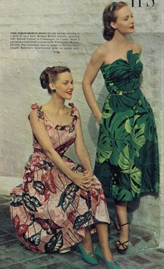 3ef083a7cdf6 Two stunning dresses in 1950s, a two-piece cotton dress and a strapless  dress of cotton twill.
