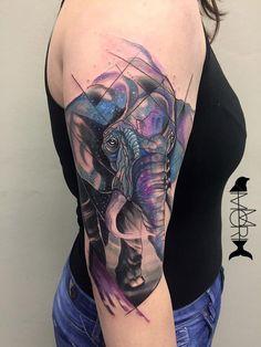 Space Elephant http://tattooideas247.com/space-elephant/