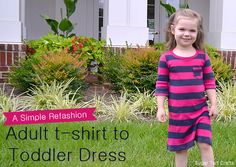 A simple t-shirt to toddler dress refashion