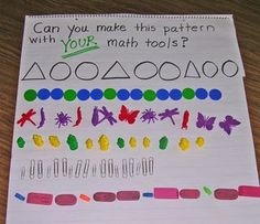 We love this post from Kathryn of Kindergarten. Her five day patterning unit, chock full of interesting and challenging exercises, will help your kinders think critically about. Patterning Kindergarten, Kindergarten Lesson Plans, Preschool Math, Math Classroom, Fun Math, Math Activities, Maths, Kindergarten Math Journals, Math Literacy