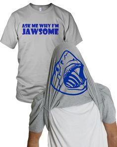 Flipover Ask Me Why I'm Jawsome T Shirt Funny Flip-Up Shark Shirt S