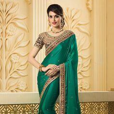 Peacock #Green Satin Art Silk #Saree with Blouse